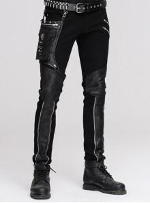 Men Metal Ring Decoration Leg Bag Black Punk Twill Pants