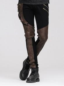 Men Metal Ring Decoration Leg Bag Brown Punk Twill Pants