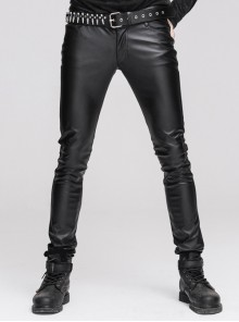 Black Punk Faux Leather Skinny Pants