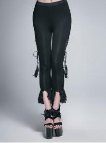 Side Hollow-Out Lace-Up Slit Lace Hem Black Gothic Legging