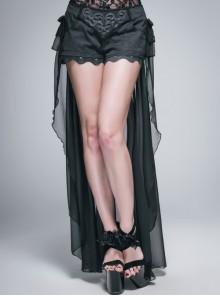 Front Buckle Back Waist Lace-Up Chiffon Lace Hem Black Gothic Short Pants