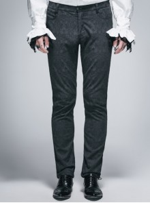 Side Braided Strap Black Gothic Jacquard Trousers