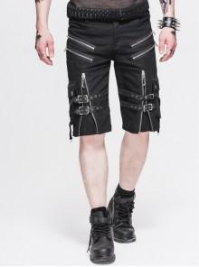 Metal Zipper Decoration Metal Buckle Leather Leg Loop Black Punk Middle Pants