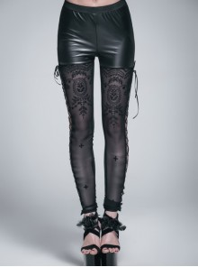 Side Hollow-Out Lace-Up Black Gothic Positioned Flower Flocking Mesh Legging