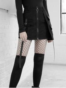 Steam Punk Female Black Zipper Strap High Waist Short Skirt