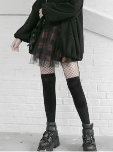 Steam Punk Female Black Vermilion Lattice Mesh Stitching Skirt