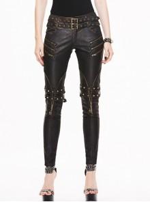 Metal Eyelets Belt Metal Buckle Leg Loop Brown Punk Hand-Rubbed Leather Pants