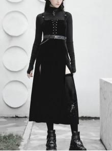 Steam Punk Female Black Velvet High Waist Binding Strap Dress