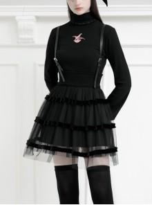 Steam Punk Female Black Mesh STitching Strap High Waist Dress