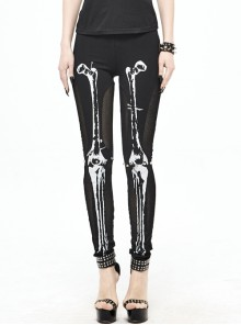 Front Skull Marrowbone Pattern Printed Black Punk Knit Legging