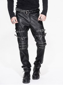 Men Metal Zipper Decoration Metal Buckle Leg Loop Black And Silver Hand-Rubbed Leather Trousers