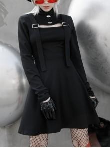 Steam Punk Female Black Hollow High Waist Long Sleeve Dress