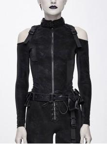 Hasp Collar Off-Shoulder Ribbon Black Punk Irregular Floral Pattern Stretch Knitted Coat