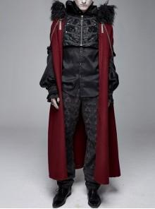 Fur Collar Side Metal Chain Metal Tassels Decoration Wine Red Gothic Cloak