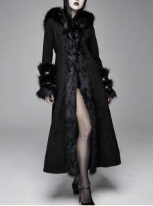 Big Fur Collar Metal Buckle Leather Hasp Cuff Black Gothic Maxi Coat