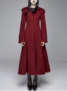 Black Big Fur Collar Metal Buckle Leather Hasp Cuff Wine Red Gothic Maxi Coat