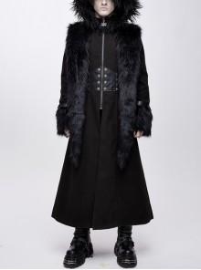 Front Metal Retro Button False Waist Closure Black Gothic Double-Sided Wool Maxi Coat