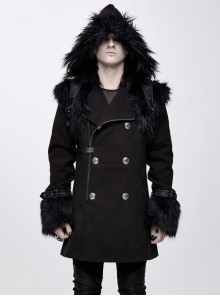 Fur Collar Shoulder Leather Hasp Front Metal Button Black Punk Double-Sided Wool Coat