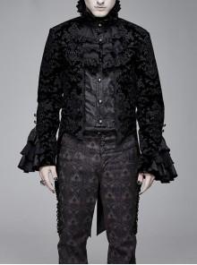 Men High Collar Front Chest Lace Frill Metal Retro Button Flare Cuff Black Gothic Jacquard Velvet Coat