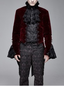Men High Collar Front Chest Lace Frill Metal Retro Button Flare Cuff Wine Red Gothic Jacquard Velvet Coat