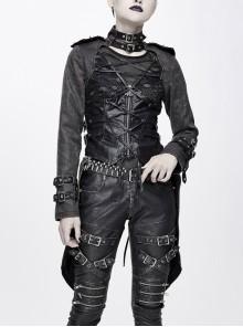 Metal Hasp High Collar Front Chest Splice Broken Holes Mesh Lace-Up Black Punk Coat