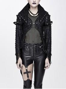Metal Nail Decoration Rough Mesh Cuff Black Punk Broken Holes Leather Coat