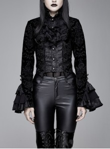 Women High Collar Front Chest Lace Frill Metal Retro Button Flare Cuff Black Gothic Jacquard Velvet Coat