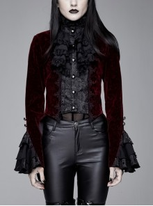 Women High Collar Front Chest Lace Frill Metal Retro Button Flare Cuff Wine Red Gothic Jacquard Velvet Coat