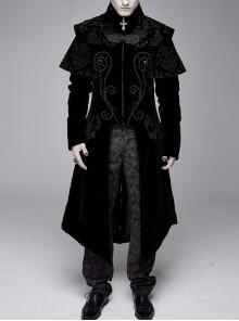 Stand-Up Collar Waist Hand Embroidered Cross Rivet Black Gothic Weft Velveteen Coat