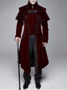 Stand-Up Collar Waist Hand Embroidered Cross Rivet Wine Red Gothic Weft Velveteen Coat