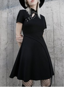 Steam Punk Female Casual Black High Waist Metal Buckle Elastic Dress