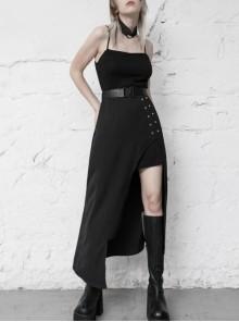 Steam Punk Female Black Belted Strap Detachable Collar Long Dress