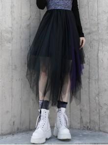 Steam Punk Female Casual Loose Dark Mesh Stitching Long Skirt