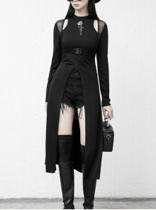 Steam Punk Female Black Mesh Stitching Buckle Split Dress