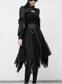 Steam Punk Female Black Elegant Chiffon Lace Stitching High Waist Dress