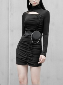 Steam Punk Female Black Hollow Slim-fitting Long Sleeve Dress
