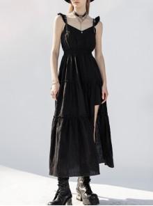 Steam Punk Female Black V-neck Strap Split Long Dress