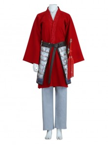 Mulan Red Battle Suit Halloween Cosplay Costume Full Set Without Props Sword