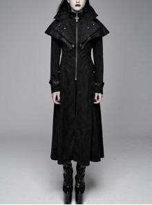 Big Pendulum Collar Hand Embroidery Shawl Cross Pendant Decoration Black Punk Long Coat