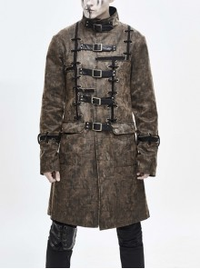Stand-Up Collar Front Metal Buckle Leather Hasp Lace-Up Brown Punk Coat