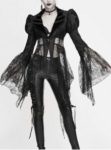 V-Neck Front Metal Retro Button Flocking Mesh Cuff Irregular Hem Black Gothic Jacquard Coat