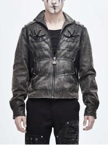 Stand-Up Collar Metal Rivet Decoration Front Chest Bandage Grey Punk Coat