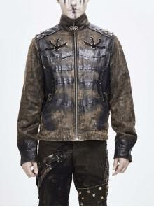 Stand-Up Collar Metal Rivet Decoration Front Chest Bandage Brown Punk Coat