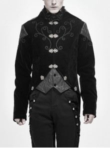 Front Chest Hand Embroidery Vintage Hook Clasp Black Gothic Weft Velvety Coat