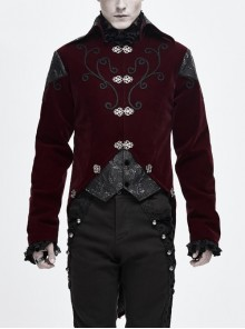 Front Chest Hand Embroidery Vintage Hook Clasp Wine Red Gothic Weft Velvety Coat