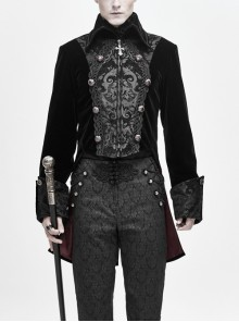 Front Chest Embroidery Retro Glass Button Black Gothic Weft Velvety Coat