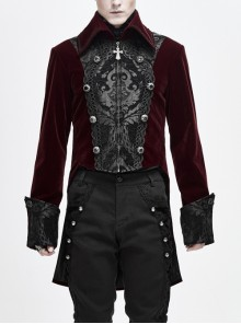 Front Chest Embroidery Retro Glass Button Wine Red Gothic Weft Velvety Coat