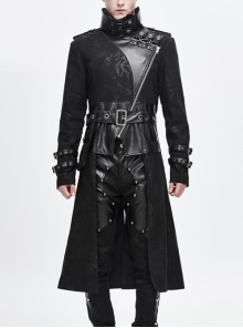 Stand-Up Collar Metal Hasp Leather Belt Black Punk Hand Rub Leather Long Coat