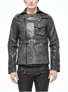 Metal Skull Decoration Metal Eyelets Belt Black Punk Painted Pattern Leather Coat