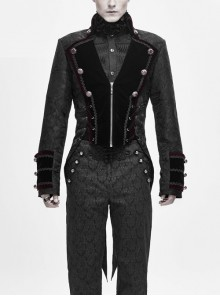 Stand-Up Collar Front Chest Metal Retro Button Back Waist Lace-Up Dovetail Hem Black Gothic Jacquard Coat